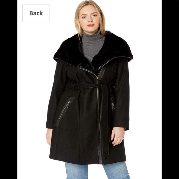 Via Spiga Jackets & Blazers - Via Spiga Plus Wool Coat Fur Hood and Faux Leather